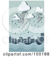 Royalty Free RF Clipart Illustration Of A Storm Flooding A City by mayawizard101