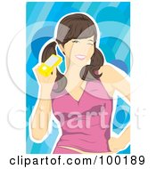 Royalty Free RF Clipart Illustration Of A Brunette Woman Holding A Yellow Cell Phone by mayawizard101