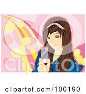 Royalty Free RF Clipart Illustration Of A Brunette Girl Holding A Pink Cell Phone by mayawizard101