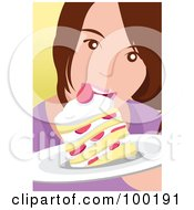Royalty Free RF Clipart Illustration Of A Girl Eating Strawberry Shortcake