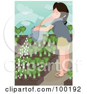 Happy Girl Watering Small Plants In Her Garden