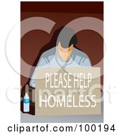 Royalty Free RF Clipart Illustration Of A Poor Man Sitting With A Please Help Homeless Sign by mayawizard101 #COLLC100194-0158