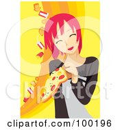 Royalty Free RF Clipart Illustration Of A Pink Haired Woman Holding Pizza