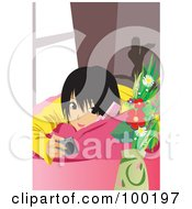 Royalty Free RF Clipart Illustration Of An Asian Girl Using A Cell Phone On A Couch by mayawizard101