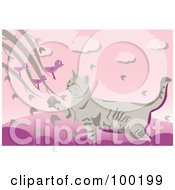 Royalty Free RF Clipart Illustration Of A Cat On A Fence Reaching For Birds