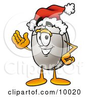 Clipart Picture Of A Computer Mouse Mascot Cartoon Character Wearing A Santa Hat And Waving