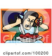 Royalty Free RF Clipart Illustration Of An Angry Woman Eating Steak