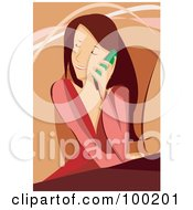Royalty Free RF Clipart Illustration Of A Brunette Woman Sitting In A Chair And Talking On A Cell Phone by mayawizard101