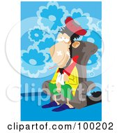 Royalty Free RF Clipart Illustration Of A Sick Man Sitting In A Chair With A Thermometer In His Mouth
