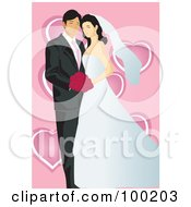 Royalty Free RF Clipart Illustration Of A Wedding Couple Posing Over Pink With Hearts by mayawizard101