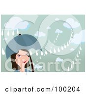 Royalty Free RF Clipart Illustration Of A Woman Smiling Under An Umbrella On A Rainy Day