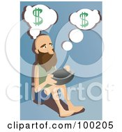 Beggar Sitting On A Sidewalk With A Bowl For Money