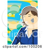 Happy Brunette Businesswoman Talking On A Cell Phone