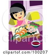 Royalty Free RF Clipart Illustration Of A Happy Girl Eating Sushi by mayawizard101
