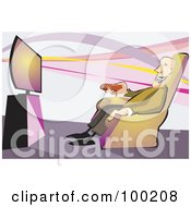 Royalty Free RF Clipart Illustration Of A Happy Old Man Pointing A Remote Control At A Television