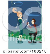 Royalty Free RF Clipart Illustration Of A Man Kneeling And Proposing To A Woman On A Sidewalk by mayawizard101