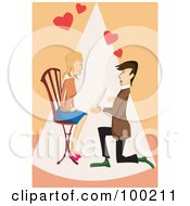 Royalty Free RF Clipart Illustration Of A Man Kneeling And Proposing To A Woman As She Sits In A Chair by mayawizard101
