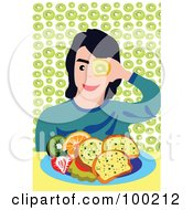 Royalty Free RF Clipart Illustration Of A Boy Eating Fruit And Bread