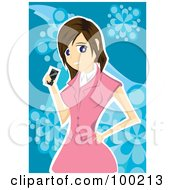 Woman In A Pink Suit Holding A Cell Phone