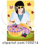 Royalty Free RF Clipart Illustration Of A Woman With A Blueberry Pie