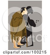 Royalty Free RF Clipart Illustration Of A Male Beggar In A Blanket Walking With A Cane by mayawizard101