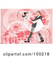 Royalty Free RF Clipart Illustration Of A Groom Carrying His Slender Bride