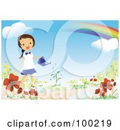 Happy Girl Watering Flowers Under A Rainbow In Her Garden