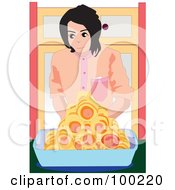 Royalty Free RF Clipart Illustration Of A Boy With Breaded Hot Dots