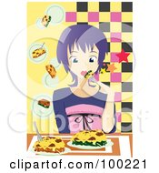 Royalty Free RF Clipart Illustration Of A Girl Dining On Lasagna