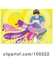 Royalty Free RF Clipart Illustration Of A Casual Boy Playing A Video Game by mayawizard101