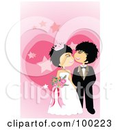 Royalty Free RF Clipart Illustration Of A Cute Wedding Couple Admiring Each Other Over Pink Stars And A Heart by mayawizard101