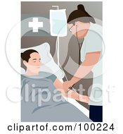 Royalty Free RF Clipart Illustration Of A Nurse Using A Stethoscope On A Patient by mayawizard101