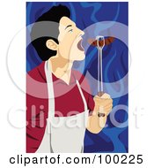 Royalty Free RF Clipart Illustration Of A Man Eating A Freshly Grilled Hot Dog