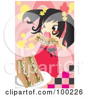 Royalty Free RF Clipart Illustration Of A Hungry Girl Eating A Sandwich