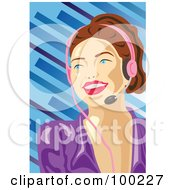 Royalty Free RF Clipart Illustration Of A Pretty Call Center Woman Wearing A Pink Headset