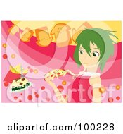 Royalty Free RF Clipart Illustration Of A Green Haired Girl Eating Cheesy Pizza