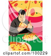 Royalty Free RF Clipart Illustration Of A Chubby Man Eating Pizza Slices