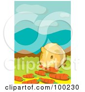 Royalty Free RF Clipart Illustration Of A Pet Hamster Eating Carrots by mayawizard101