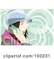 Royalty Free RF Clipart Illustration Of A Brunette Woman Wearing A Hat And Talking On A Cell Phone by mayawizard101