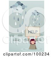 Royalty Free RF Clipart Illustration Of A Girl Holding Up A Help Sign In A Flooded Village
