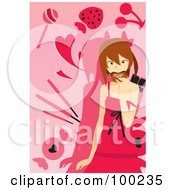 Royalty Free RF Clipart Illustration Of A Girl Eating Sweets Over Pink