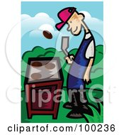 Royalty Free RF Clipart Illustration Of A Man Flipping A Meat Patty Over A Gas Grill