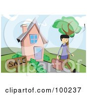 Royalty Free RF Clipart Illustration Of A Male Realtor Walking Away From A Home For Sale by mayawizard101