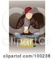 Royalty Free RF Clipart Illustration Of A Poor Man Sitting With A Money Sign by mayawizard101