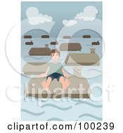 Boy Sitting On A Roof In A Flooded Village