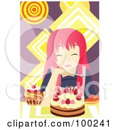 Royalty Free RF Clipart Illustration Of A Pink Haired Girl Eating Cake