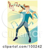 Royalty Free RF Clipart Illustration Of A Singing Guy With Music Notes Over Blue And Yellow