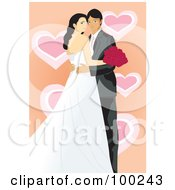 Royalty Free RF Clipart Illustration Of A Wedding Couple Posing Over Orange With Hearts by mayawizard101