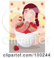 Royalty Free RF Clipart Illustration Of A Happy Girl Eating Fresh Strawberries