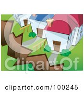 Royalty Free RF Clipart Illustration Of A Crack From An Earthquake In Front Of Homes by mayawizard101